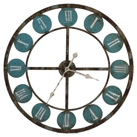 Antiqued Metal Wall Clock With Roman Numerals And An Openwork Border Product Wall Clockconstruction Material Metal Wall Clock Wall Clock Clock