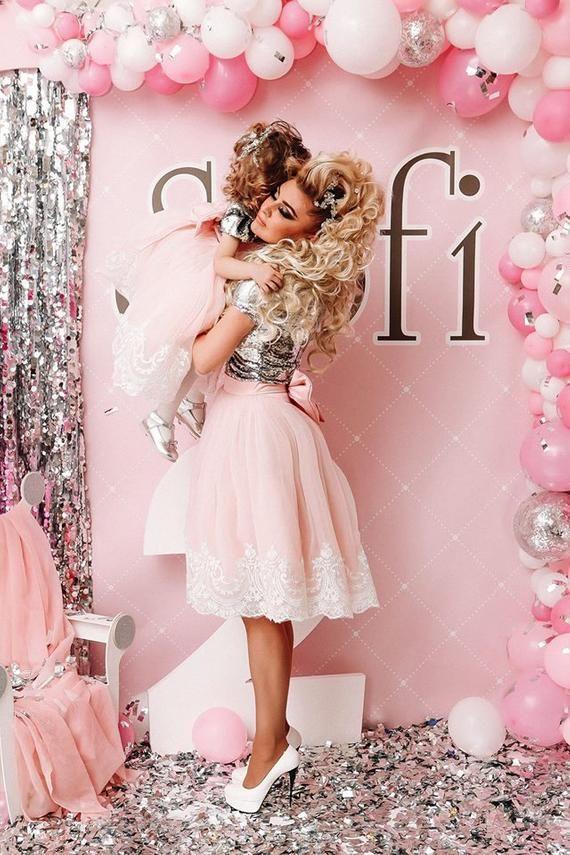 1dc39900d52eb1 Pink Mother Daughter Matching Dresses Adult tutu dress Bridesmaid dress  Women tutu dress Wedding dre