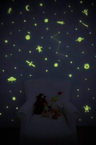 Estrelas Luminosas D Teto Plastico Fluorescente Cartela C 24