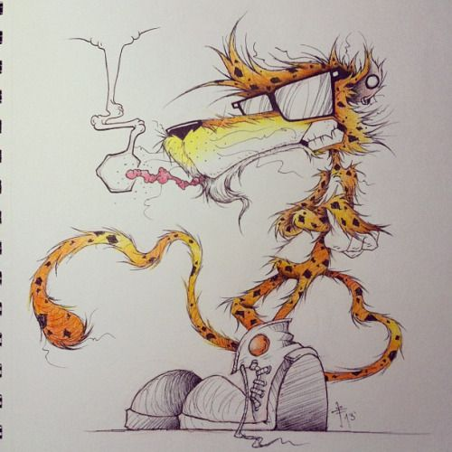Chester Cheetah Illustrations On Behance: Chester Cheetah Smoking A Hot Cheetos. This Came Out