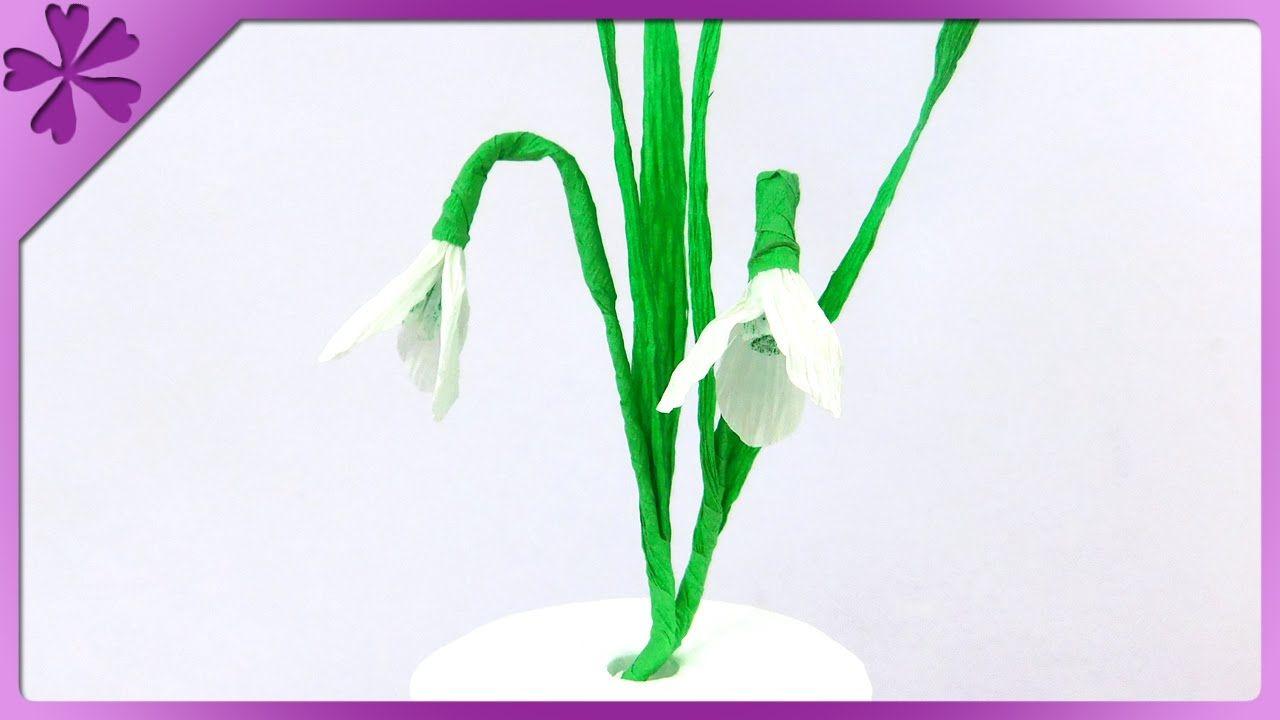 Diy Tissue Paper Snowdrop Eng Subtitles Speed Up 205 Tissue Paper Flowers Paper Flowers Flower Video