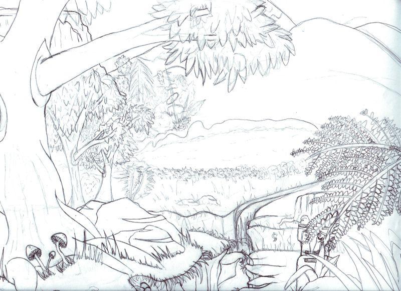 День леса рисунок карандашом