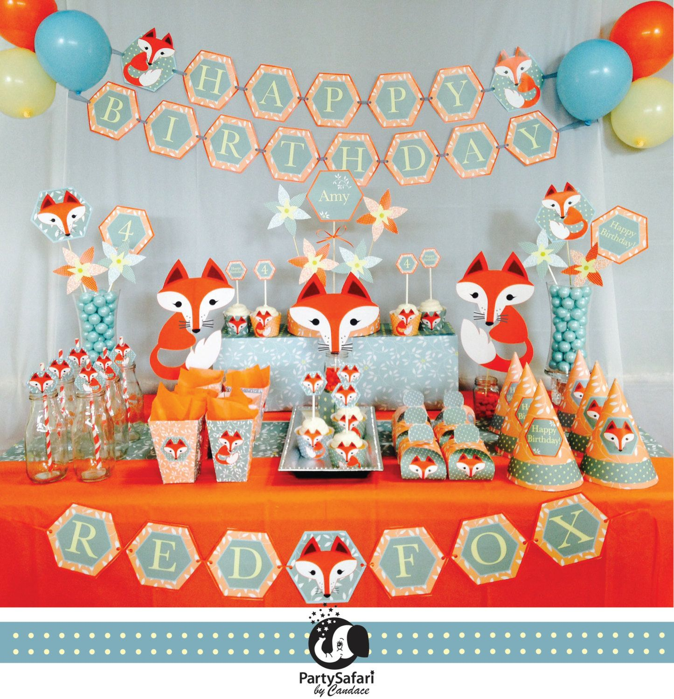 Bosque rojo Fox personalizada imprimible paquete fiesta