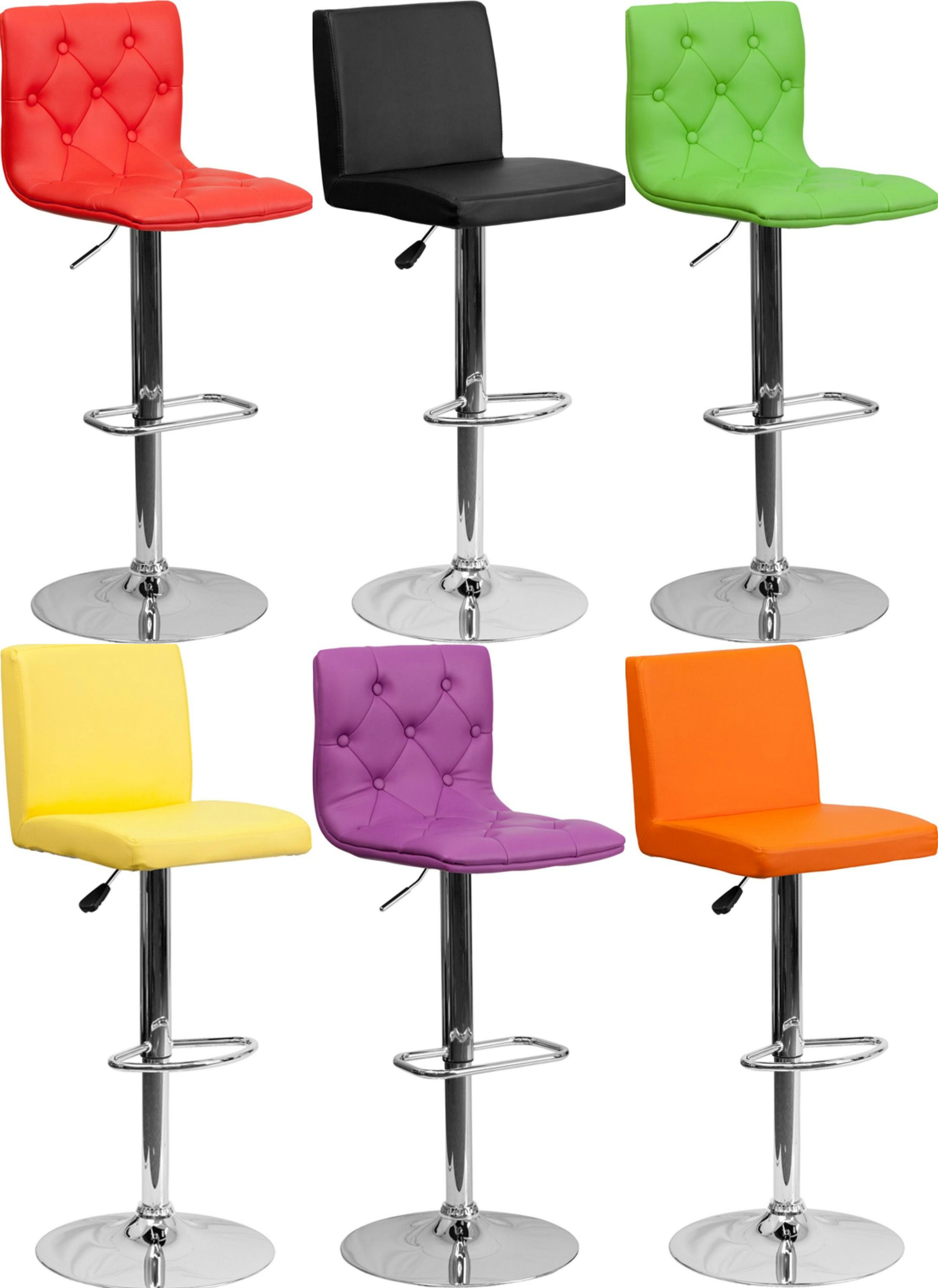 These flash furniture vinyl adjustable height bar stools are a cool contemporary addition to any bar