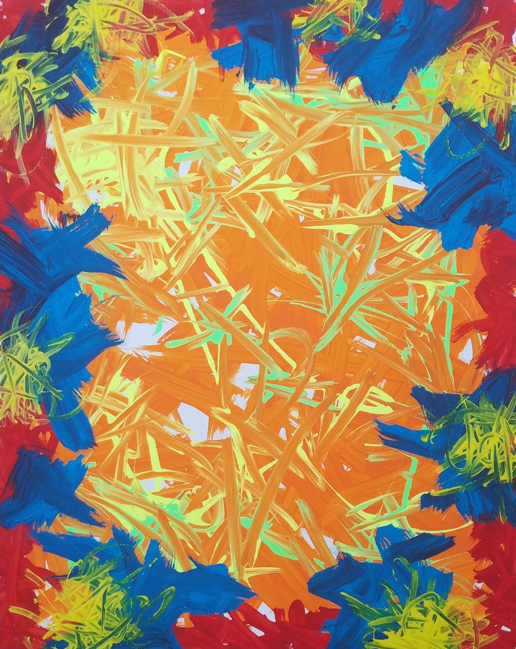 Orange, Yellow, Blue, Red, White Original Acrylic Abstract Painting ...