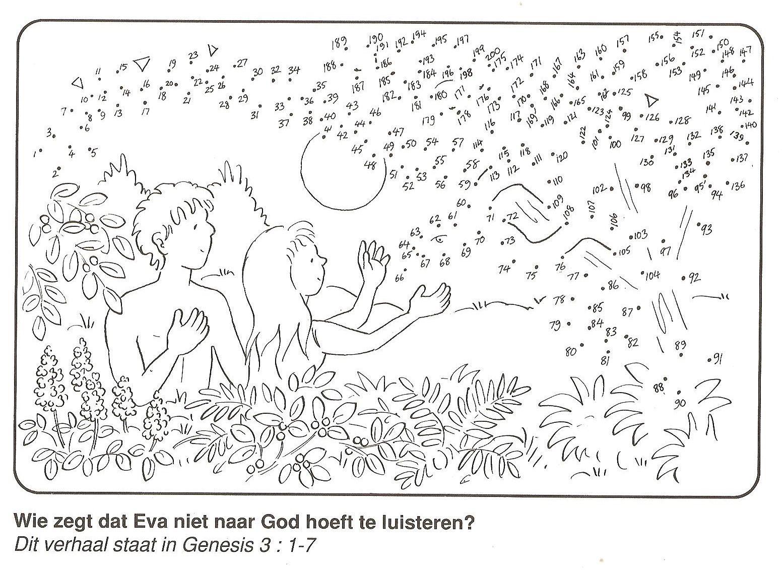 Adam En Eva En De Slang Duivel Van Stip Naar Stip Bible School Crafts Adam And Eve Sunday School Crafts