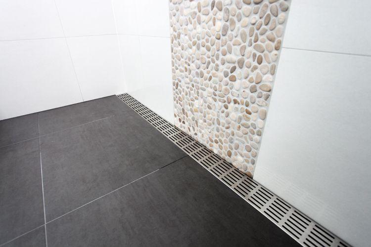 Shower Channel Large Dark Floor Tiles Large Light Wall