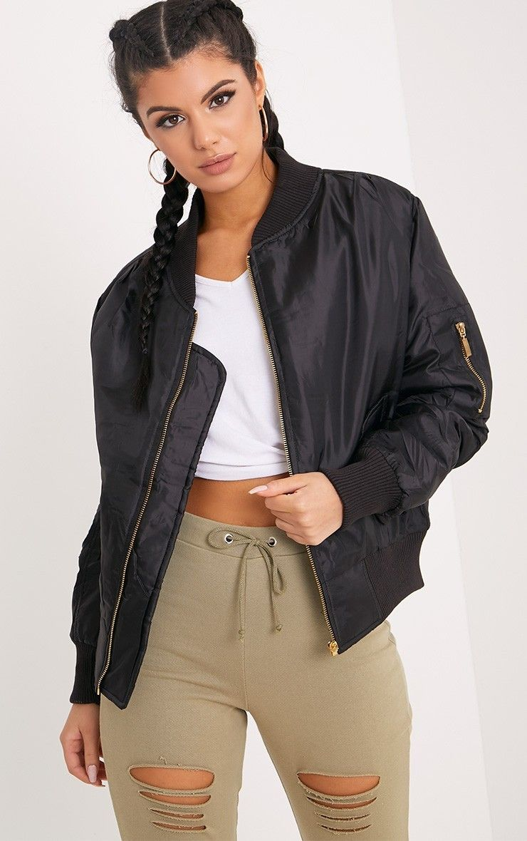 b22435e76 Alexus Black Bomber Jacket in 2019 | o | Bomber jacket outfit, Black ...