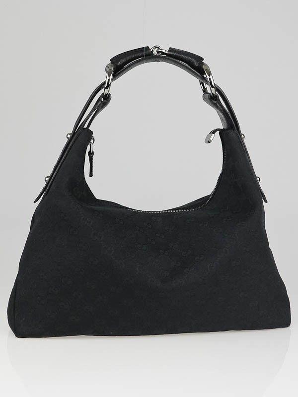 546066df0101 Gucci Black GG Canvas Medium Horsebit Hobo Bag | Bags | Used gucci ...