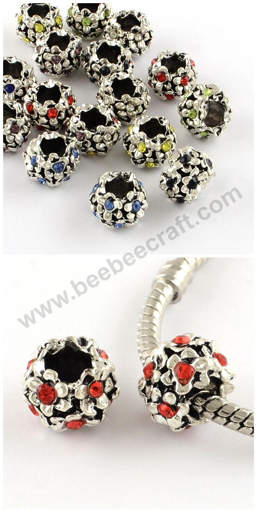 50p 6mm Color Czech Crystal Rhinestone Silver Rondelle Spacer Beads Beaded Craft