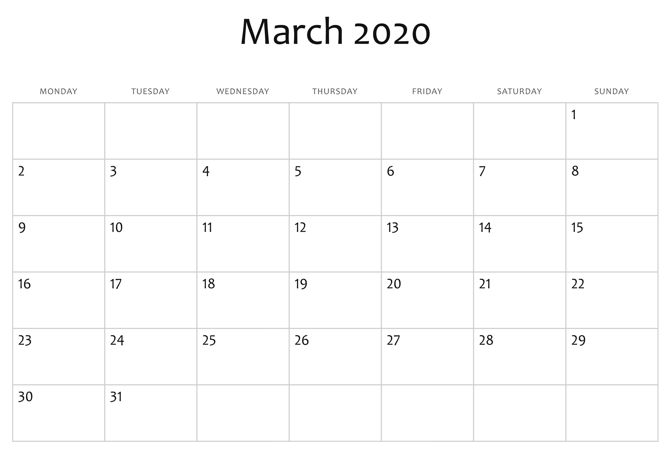 Editable March Calendar 2020 Template In 2020 Calendar Template Calendar Printables Free Printable Calendar Templates