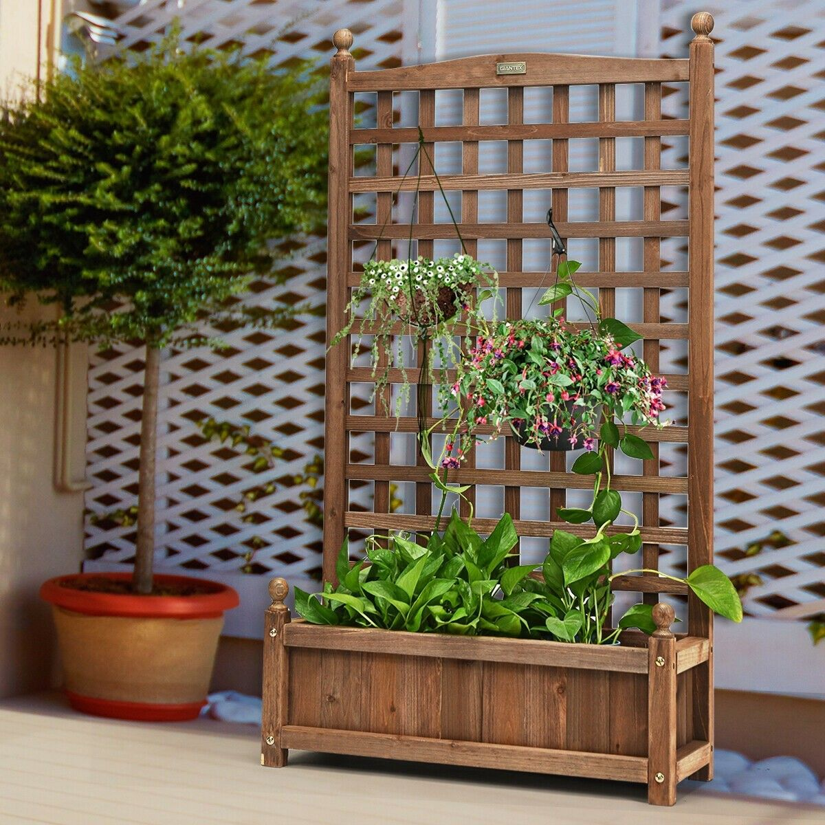 Solid Wood Planter Box With Trellis Weather Resistant Outdoor Planter Box With Trellis Wood Planter Box Wood Planters