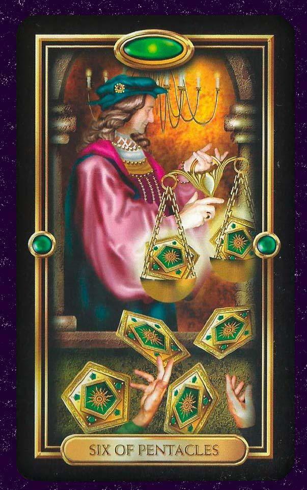 Resultado de imagen para six of pentacles tarot