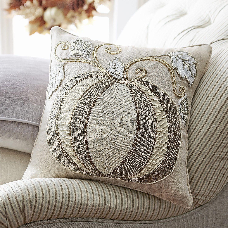 Beaded Ivory Pumpkin Pillow Pier 1 Imports Pumpkin Pillows