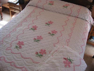 MSB~ 2 Vintage Chenille Bedspreads Pink Flowers--2 matching twin cottage chic