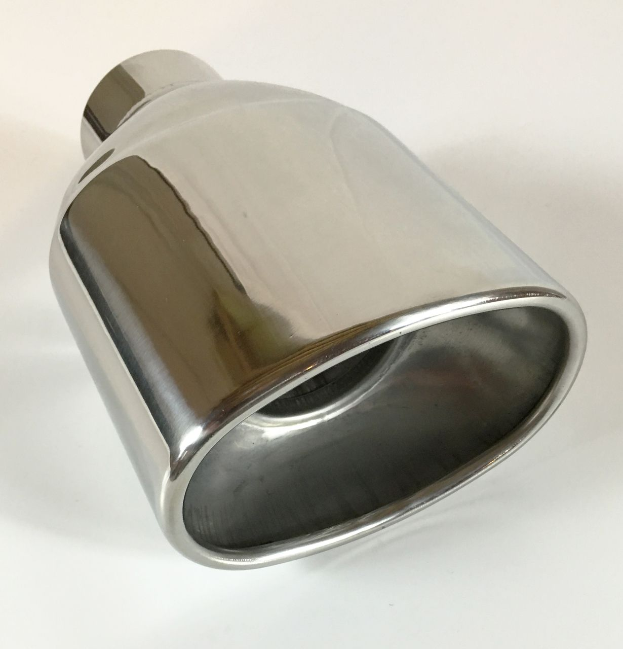 """Exhaust Tip 5.50 x 3.5 Dia OD Oval 7.50/"""" Long 2.50/"""" Inlet Double Wall Stainless"""