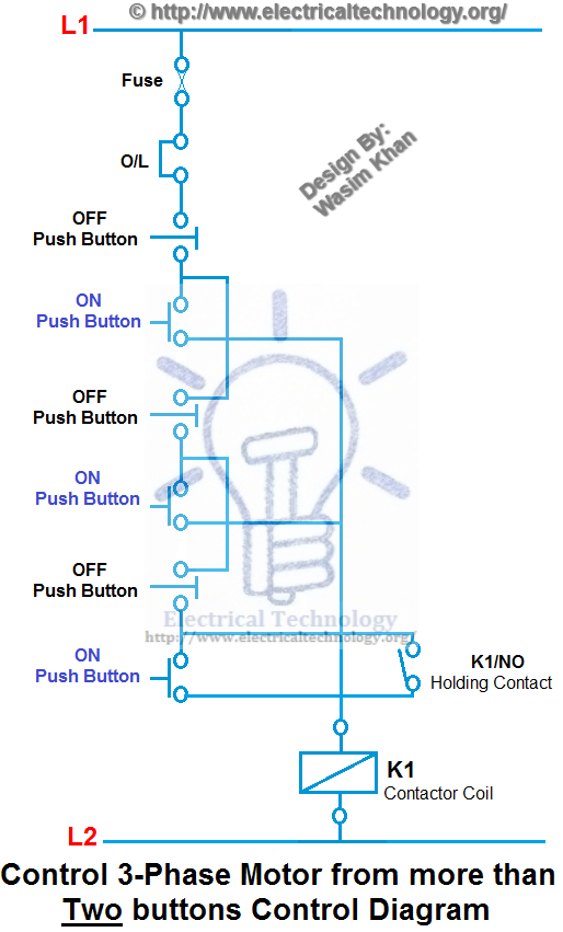 Control 3 Phase Motor From More Than Two Buttons Electrical