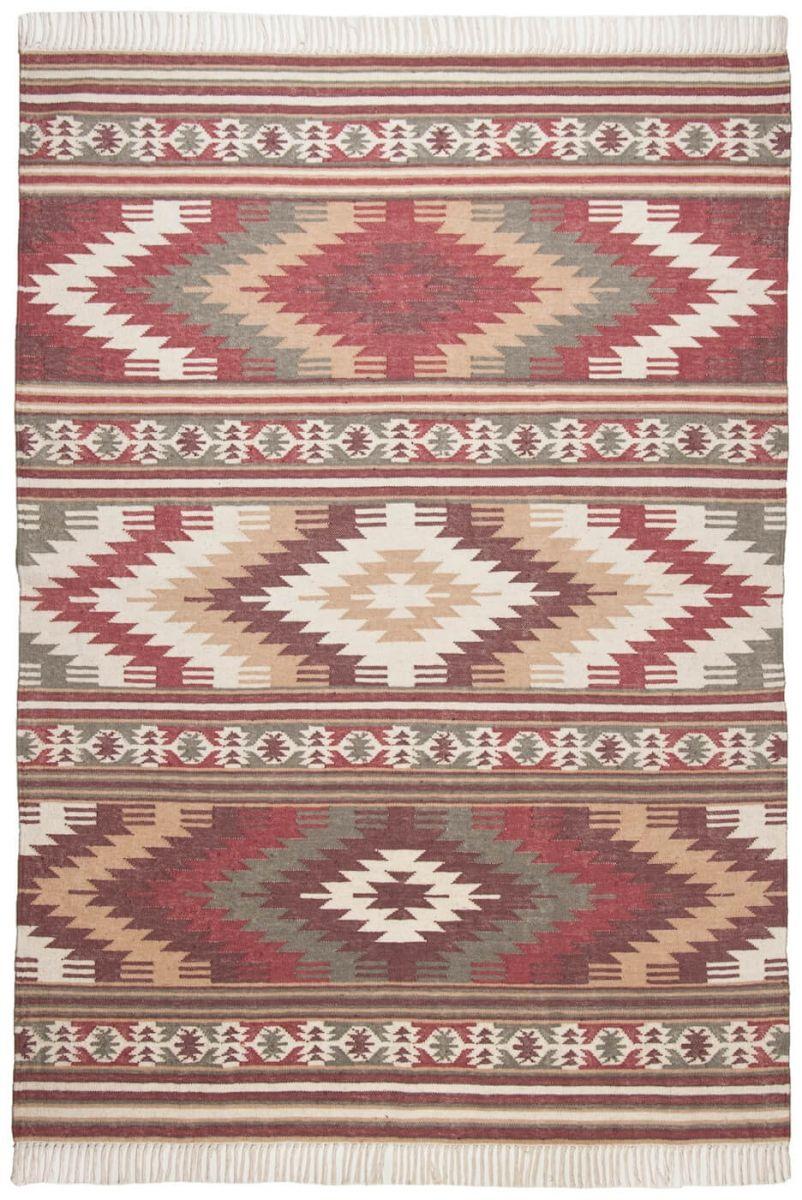 Tom Tailor Teppich Vintage Kelim Colors I Red 200 Ethno Teppich Teppich Wohnzimmer Wollteppich