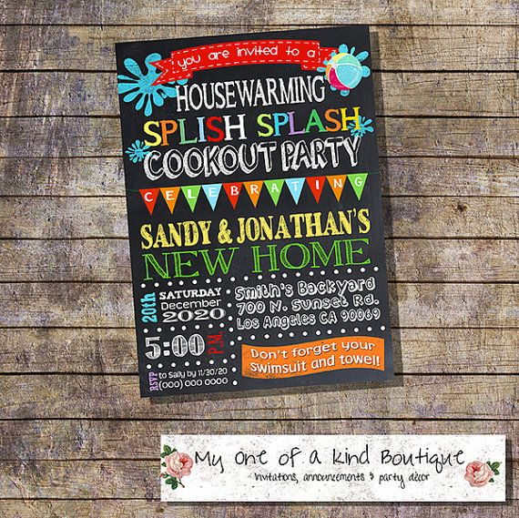 Cookout Pool Party Housewarming Invitation House Warming
