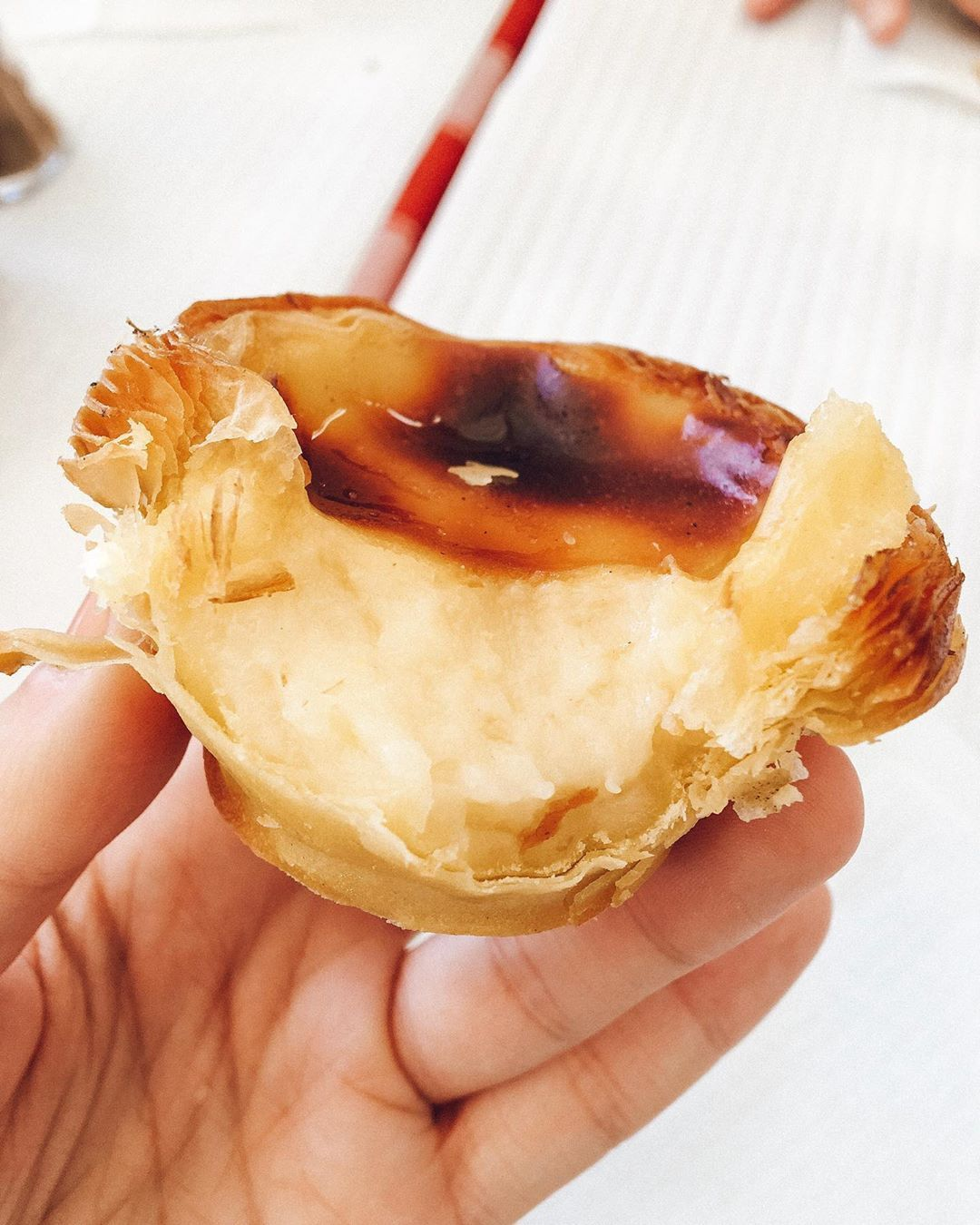 Feed Me...in Lisbon 🇵🇹 . 📍Martinho da Arcada . Nothing like a Portuguese custard tart IN Portugal! Creamy egg custard and flaky crispy pastry, all within the setting of the oldest cafe in Lisbon that dates back to 1782 . 🔺 Pasteis de Nata . . .