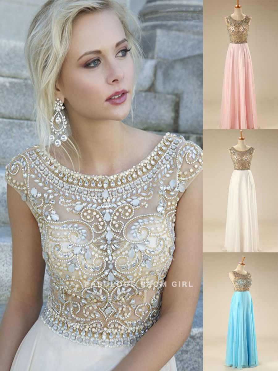 Wedding dresses with lots of rhinestones  Aline Bateau Rhinestone Sleeveless Floorlength Chiffon Prom