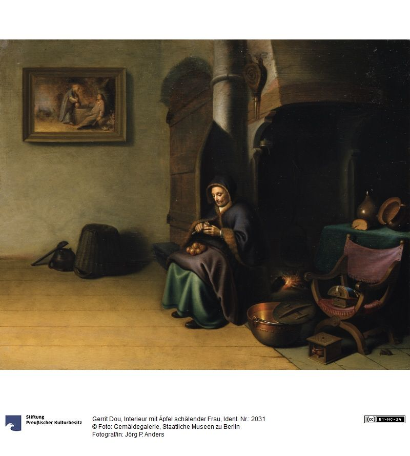 Oude vrouw die appels schilt in een interieur. ca. 1630-1634 ...