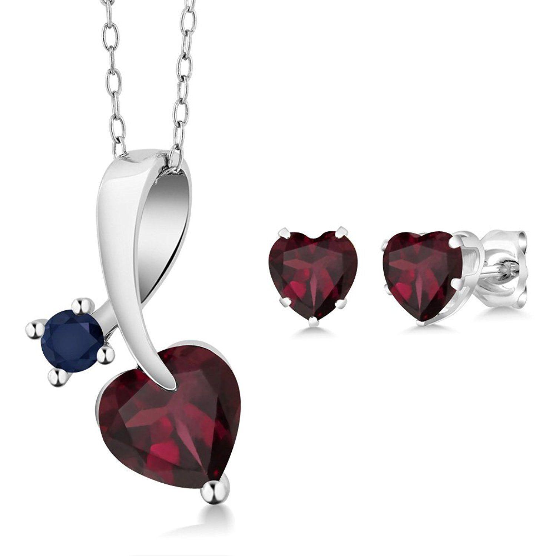 ct heart shape red rhodolite garnet k white gold pendant