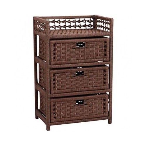 Wicker Drawer Chest Indoor Storage Furniture Shelf Sturdy Hand Woven Nightstand #WickerDrawerChest