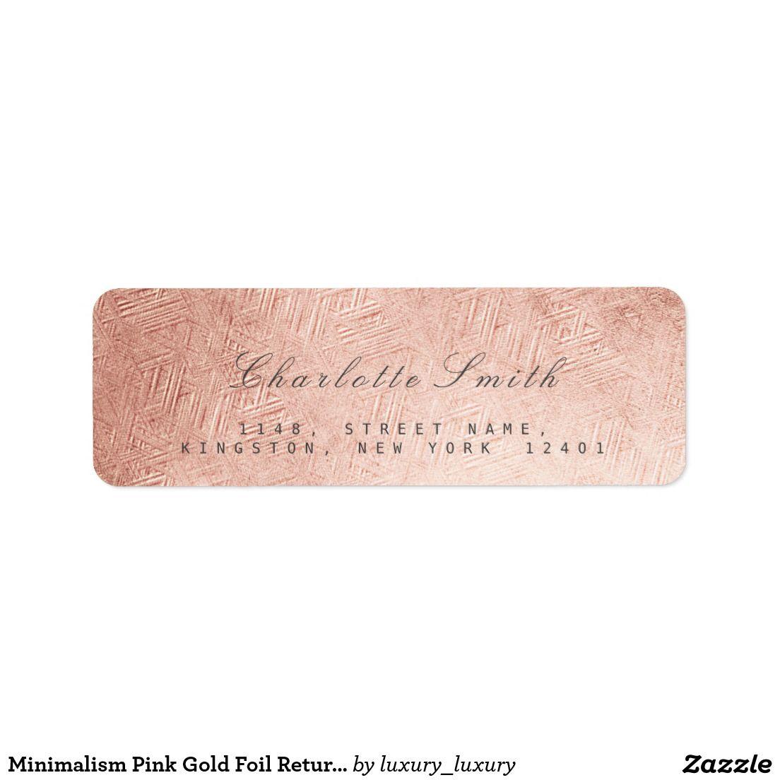 minimalism pink gold foil return address labels minimalism return