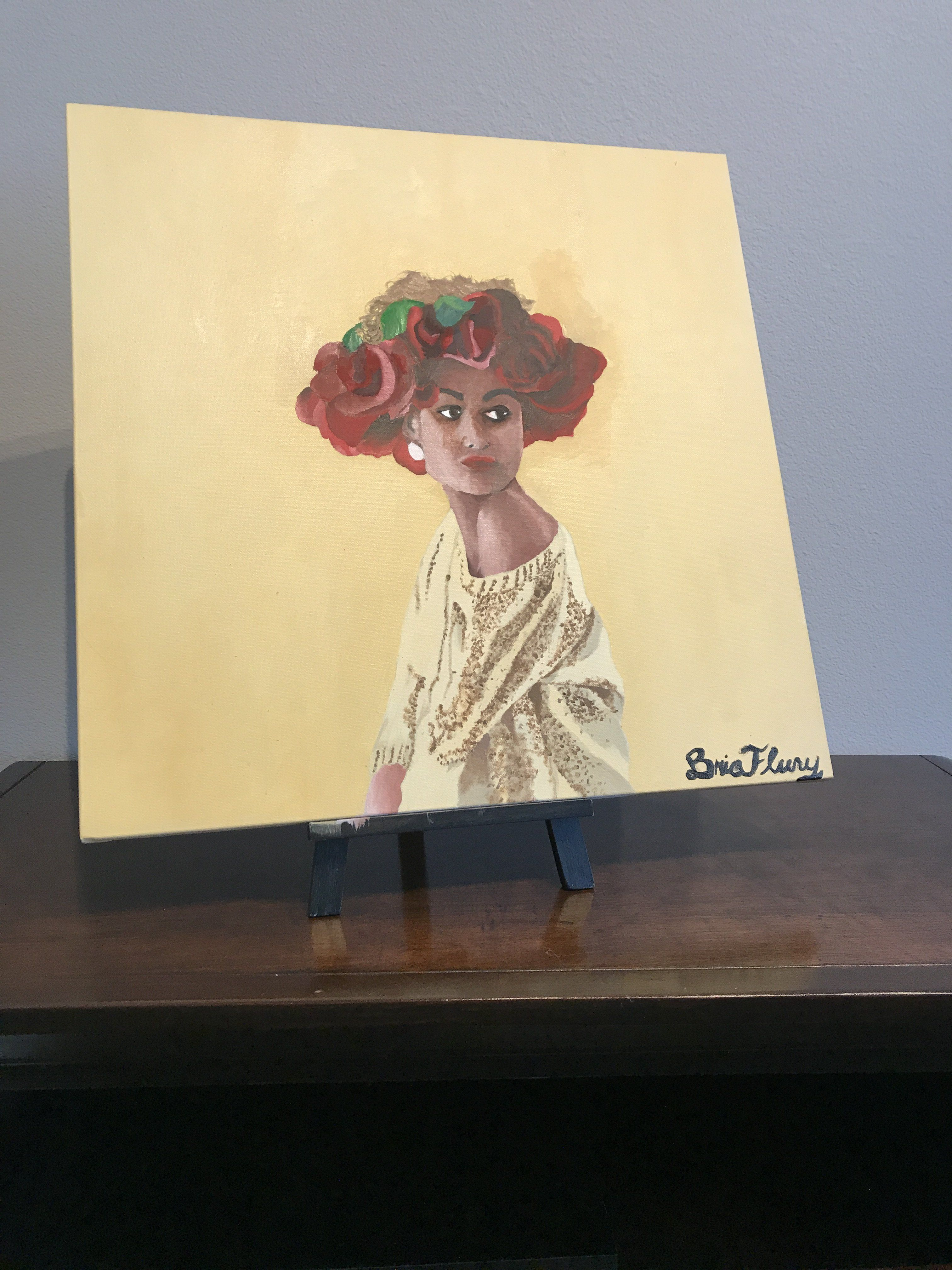 African American art. Oil painting. African American Girl with a ...