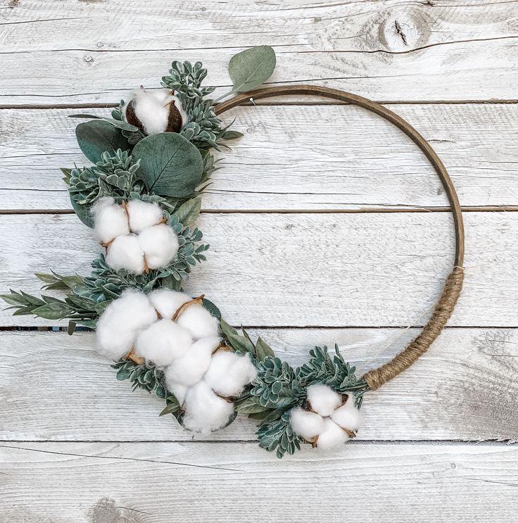 Photo of Hoop Wreath, Fall Cotton Door Wreath, Custom Size Wreath, Farmhouse Style, Kitchen Decor, Back to Sc