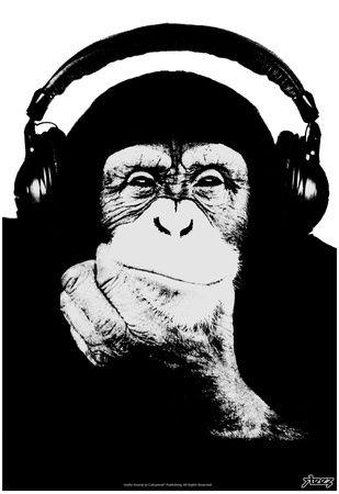 Steez Headphone Chimp Black White Plakat Plakat