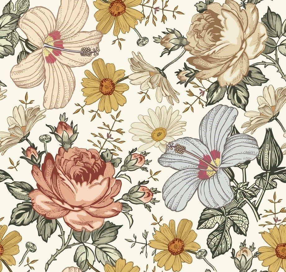Vintage Flowers Baby Girl Blanket Floral Crib Bedding Etsy Floral Wallpaper Wallpaper Background Vintage