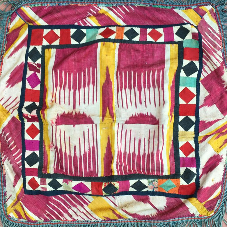 Vintage Ethnic Pillow, tribal nomads embroidery, Boho-chic decor.