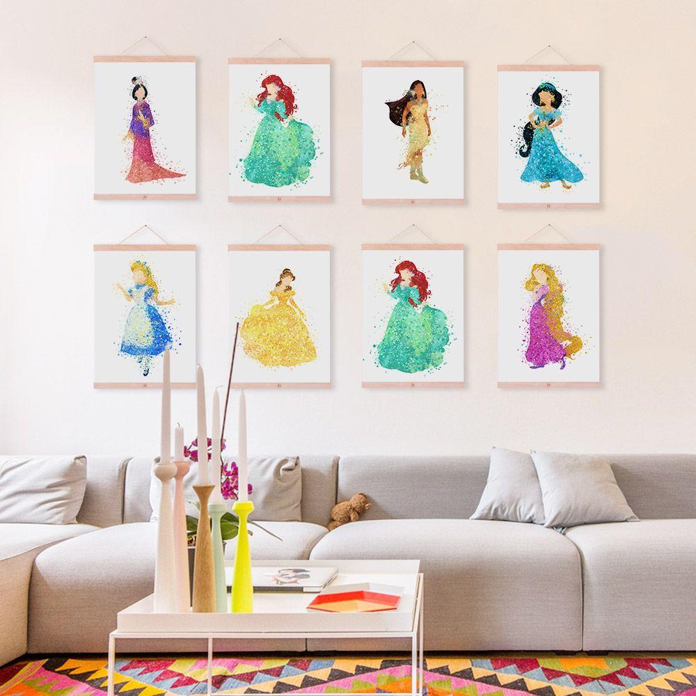 Disney Princess Snow White Ariel Aurora Watercolor Framed Canvas ...