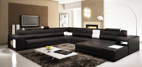 Modern Couch Sectional Leather Sofa Black