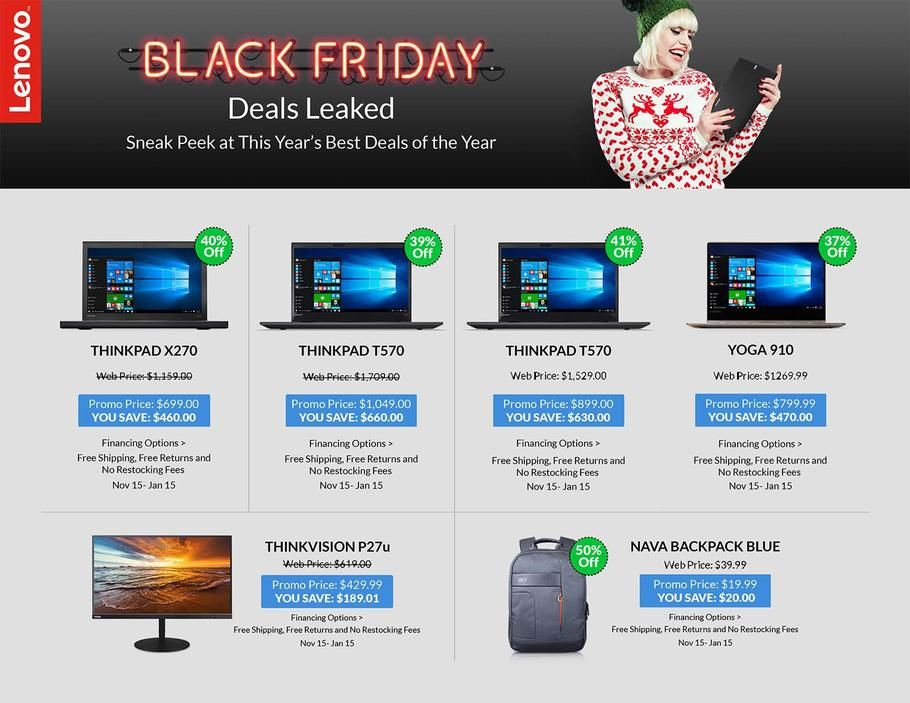 Lenovo Black Friday 2017 Ads And Deals Lenovo Black Friday Will Bring Discounts On The Brand S Best And Most Popular Products Like The Thinkpad And The Ideapad