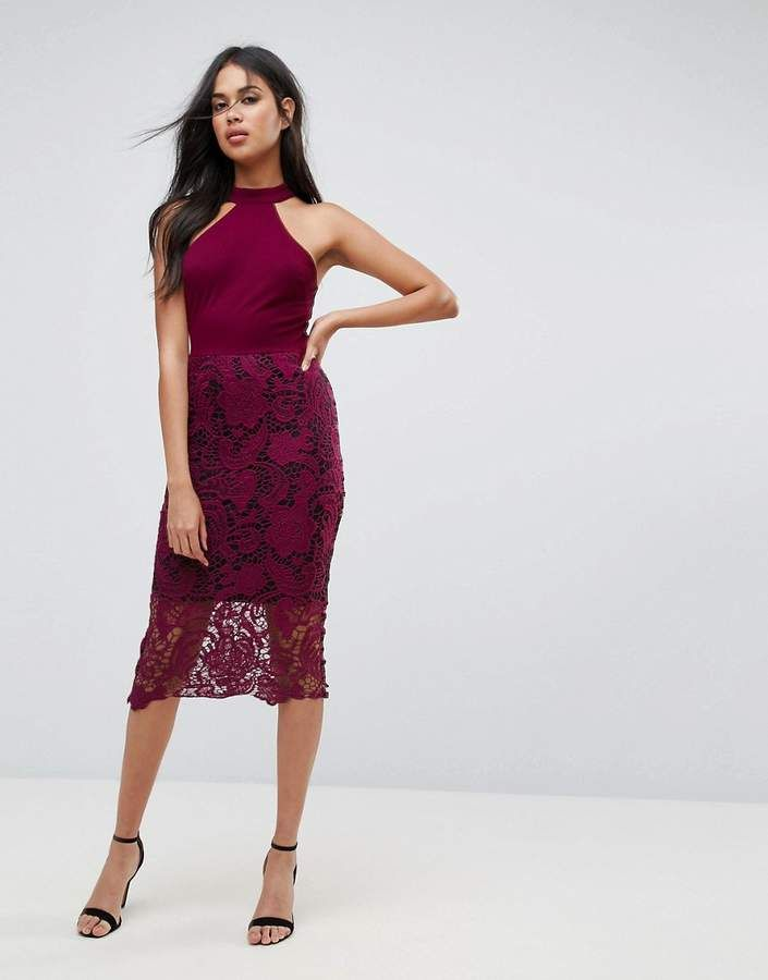 AX Paris Racer Neck Midi Dress With Crochet Lace Skirt And Contrast ...