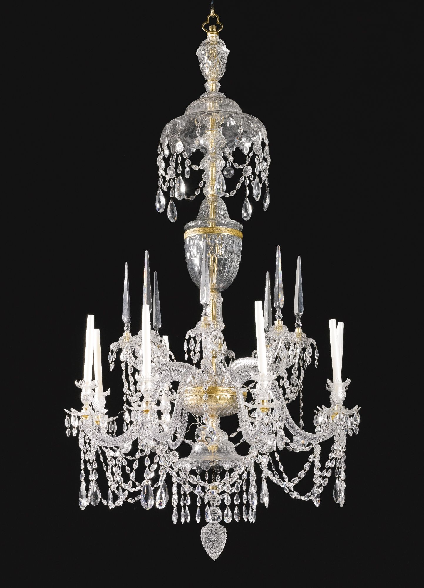 A George III cut glass eight light chandelier circa 1770 in the