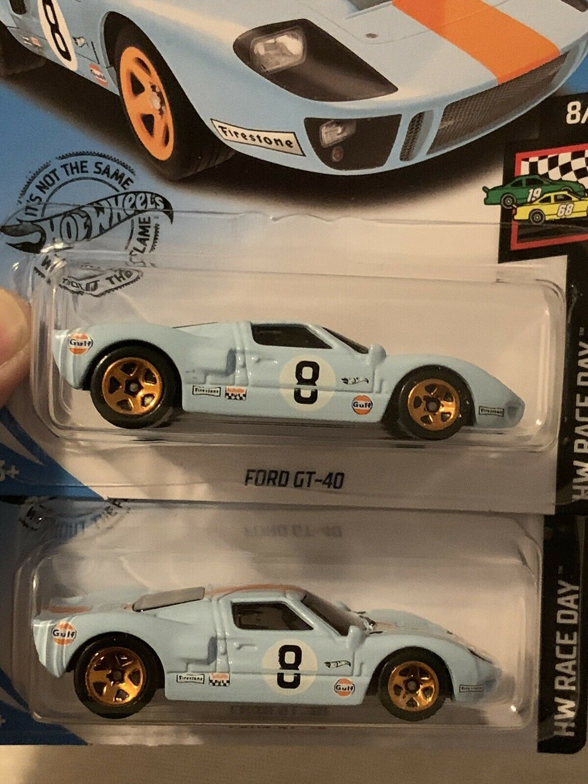 Hot Wheels Ford Gt 40 X2 Gulf Race Day Liveriers Perfect For Ford Vs Ferrari 5 0 Ford Gt40 Hot Wheels Ford Gt Hot Wheels Gulf Racing