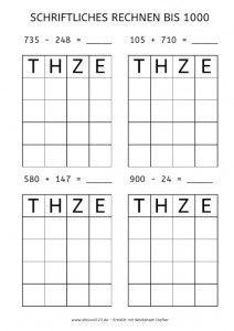 Schriftliches Rechnen, Zahlenraum bis 1000, rechnen, Mathe ...
