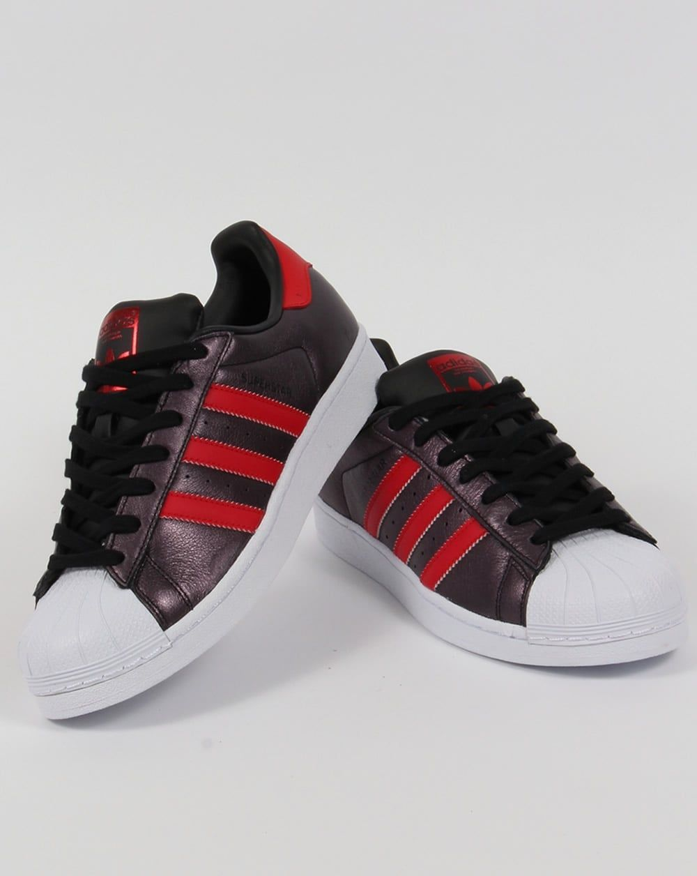 adidas superstar black red and white