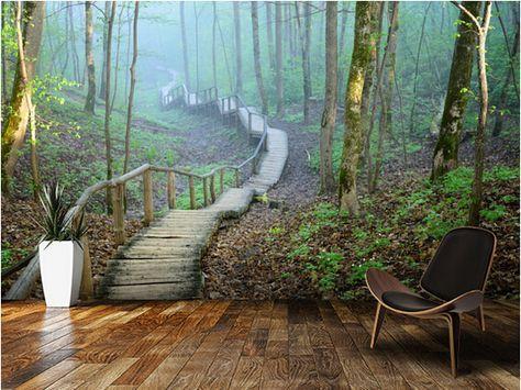 Gunstige Kundenspezifische Naturliche Tapete Nebel Wald Treppenhaus