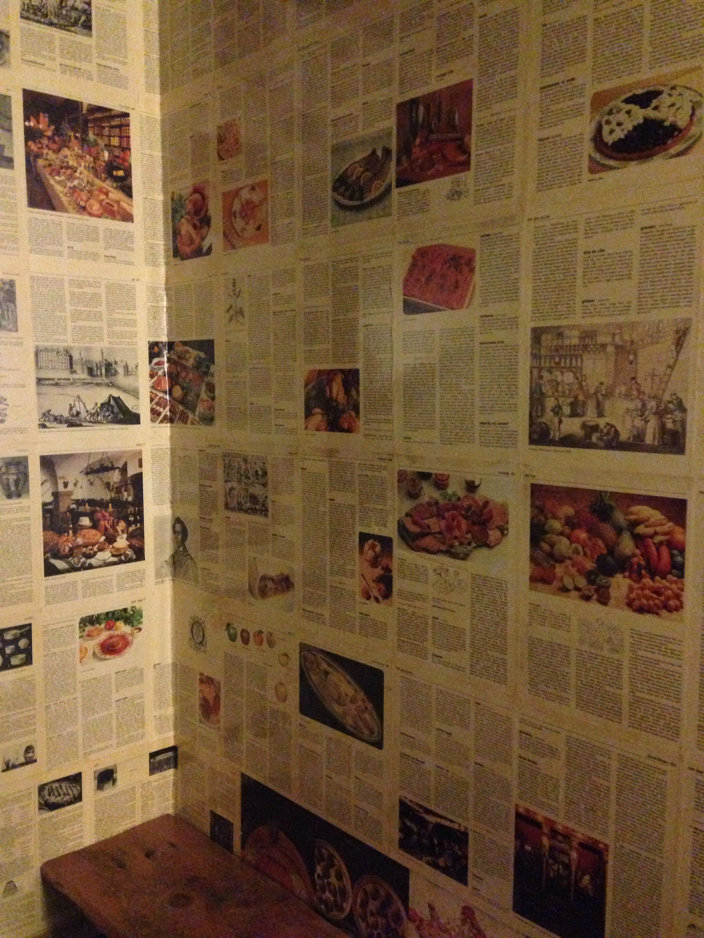 cookbook wallpaper! found this in a restaurant bathroom but am