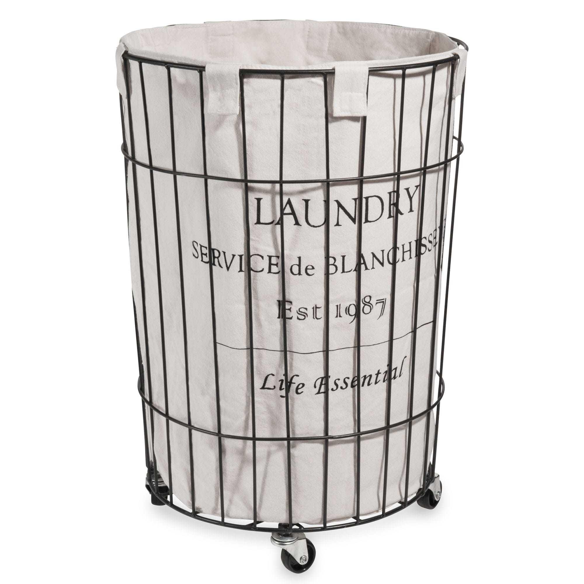 panier linge avec roulettes en m tal h 56 cm maison de campagne pinterest roulette. Black Bedroom Furniture Sets. Home Design Ideas