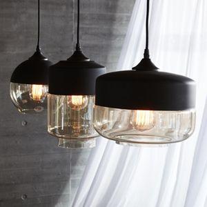 suspension en verre fum et m tal noir h bsch cylindre. Black Bedroom Furniture Sets. Home Design Ideas