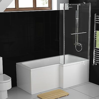 1500mm #right hand l #shaped shower bath white bathtub + #screen with rail bl115,  View more on the LINK: http://www.zeppy.io/product/gb/2/371452114294/