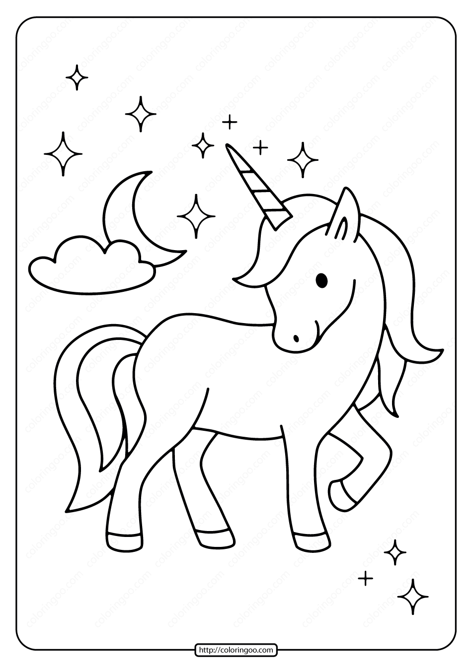 Printable Unicorn With The Moon Coloring Page Moon Coloring Pages Unicorn Coloring Pages Unicorn Painting