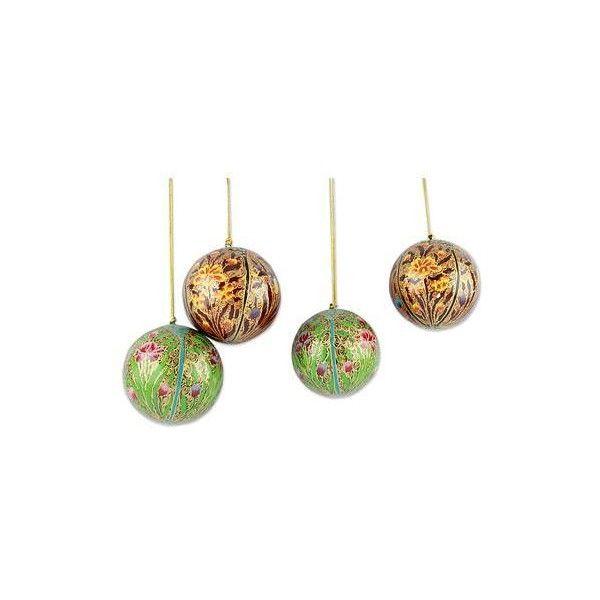 NOVICA Set of 4 Handmade Papier Mache Christmas Ornaments (685 UAH ...