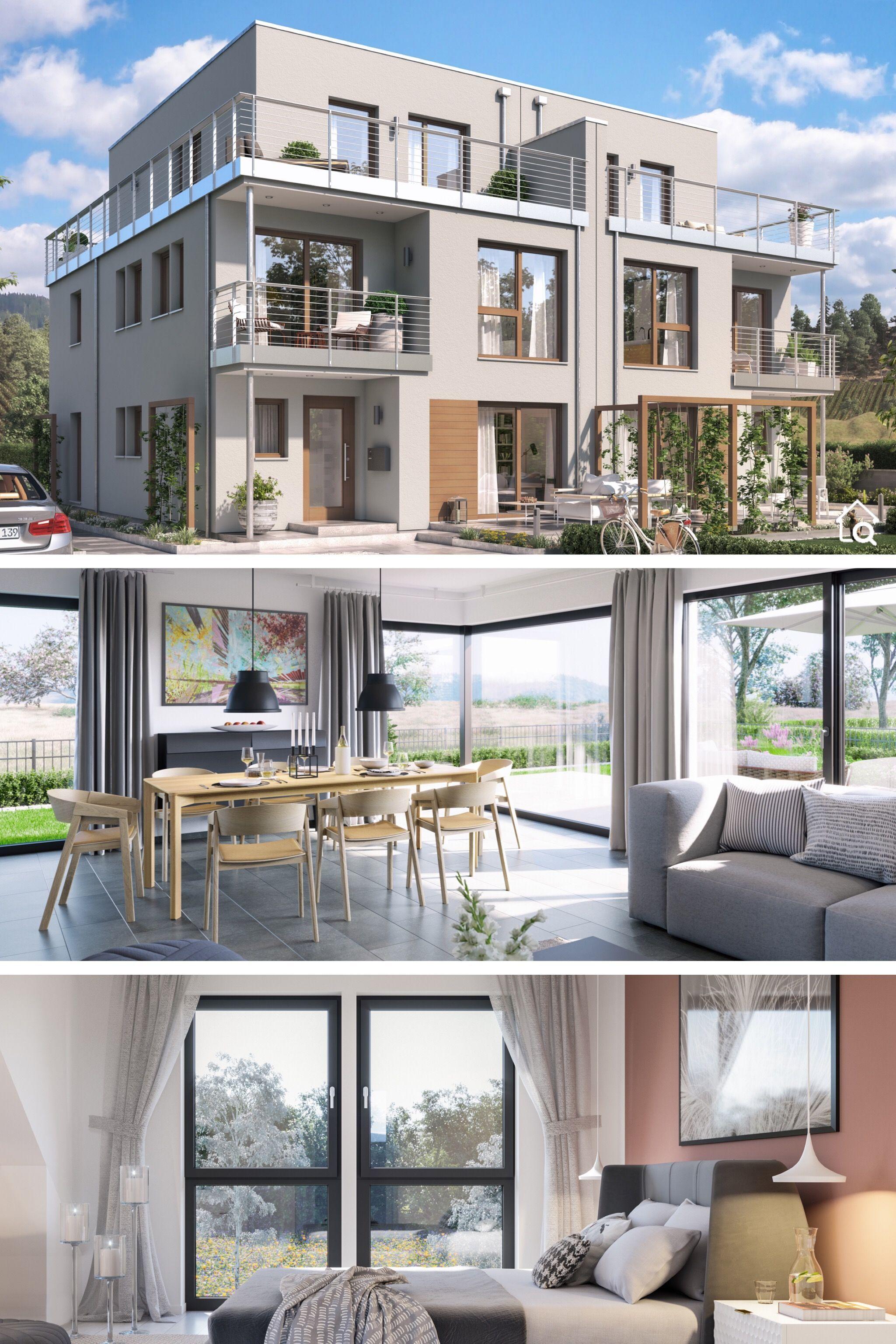 Doppelhaushälfte modern mit Flachdach Architektur, 6